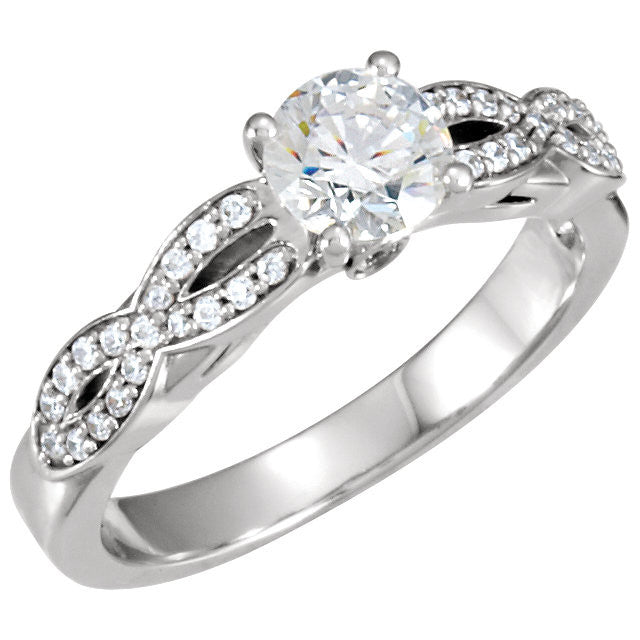 *Clearance* Cubic Zirconia Engagement Ring- The Brenda (1.0 Carat Round-Cut with Infinity-Inspired Pave Band in Sterling Silver)