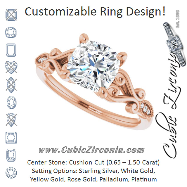 Cubic Zirconia Engagement Ring- The Annika (Customizable 7-stone Design with Cushion Cut Center Plus Sculptural Band and Filigree)