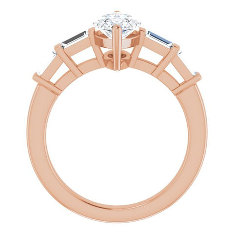 10K Rose Gold Customizable 9-stone Design with Marquise Cut Center and Round Bezel Accents