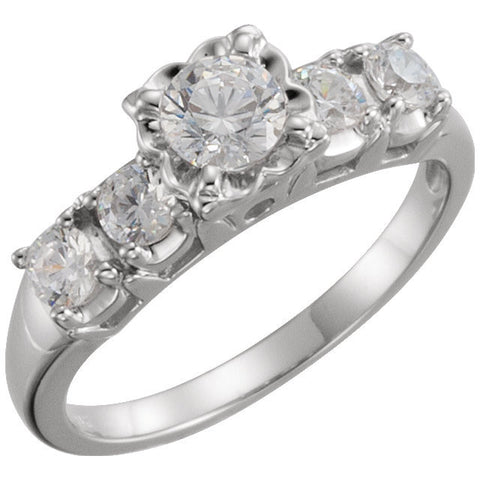 Cubic Zirconia Engagement Ring- The Lyssa (Customizable 5-stone)
