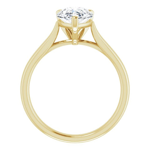 10K Rose Gold Customizable Cathedral-Prong Pear Cut Solitaire