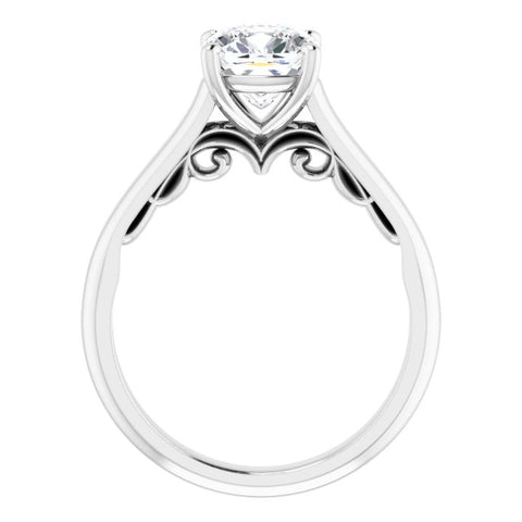 14K White & Yellow Gold Customizable Cushion Cut Cathedral Solitaire with Two-Tone Option Decorative Trellis 'Down Under'