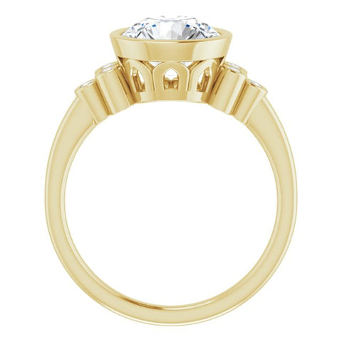 18K Yellow Gold Customizable 7-stone Round Cut Style with Triple Round-Bezel Accent Cluster Each Side