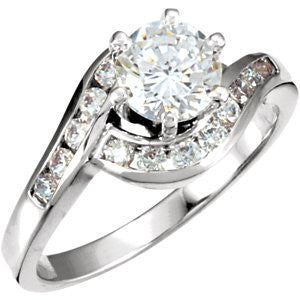 Cubic Zirconia Engagement Ring- The Porsche (Customizable Bypass Band with Round Channel Accents)