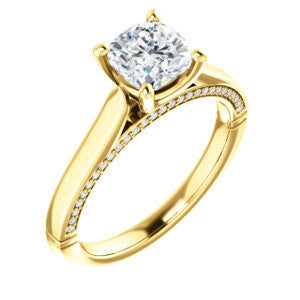 Cubic Zirconia Engagement Ring- The Tonja (Customizable Cushion Cut Semi-Solitaire with Dual Three-sided Pavé Band)