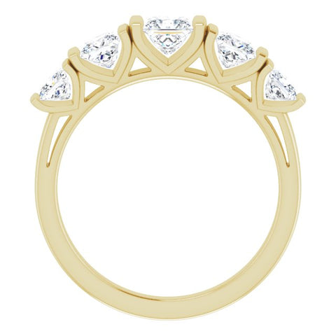 10K Rose Gold Customizable 5-stone Princess/Square Cut Design with Thick Channel Setting