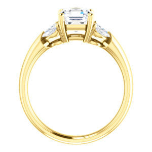 Cubic Zirconia Engagement Ring- The Leeanne (Customizable 5-stone Design with Asscher Cut Center and Marquise Accents)