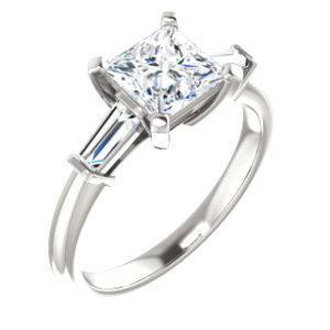 Cubic Zirconia Engagement Ring- The Monica (Customizable Princess Cut Center with Dual Tapered Baguettes)