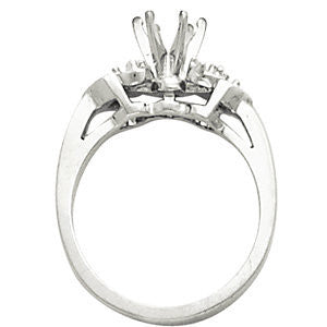 Cubic Zirconia Engagement Ring- The Gillian (Customizable 7-stone with Chevron Bar Set Accents)