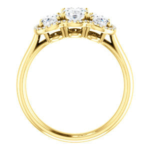 Cubic Zirconia Engagement Ring- The Carissa (Customizable Oval Cut 3-stone Halo Style with Oval Accents)