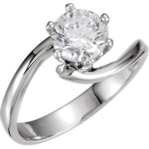 Cubic Zirconia Engagement Ring- The Toni (1 Carat Round-cut Solitaire with Swirl Design)