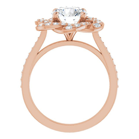 18K Rose Gold Customizable Cathedral-raised Round Cut Design with Floral/Knot Halo and Thin Accented Band