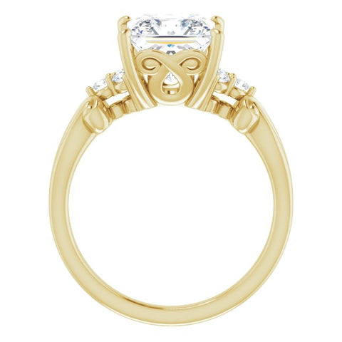 10K Rose Gold Customizable 7-stone Princess/Square Cut Design with Tri-Cluster Accents and Teardrop Fleur-de-lis Motif