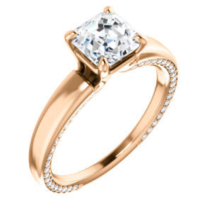 Cubic Zirconia Engagement Ring- The Rosalina (Customizable Asscher Cut with Three-sided Pavé Band)