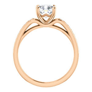 Cubic Zirconia Engagement Ring- The Sashalle (Customizable Cathedral-Raised Cushion Cut Design with Tapered Pavé Band)