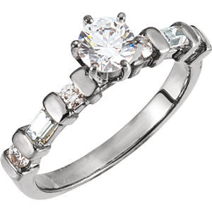 Cubic Zirconia Engagement Ring- The Marlene (Customizable 7-stone with Baguette & Round Accents)
