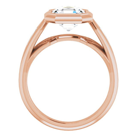 10K Rose Gold Customizable Bezel-set Asscher Cut Design with Wide Split Band & Tension-Channel Baguette Accents