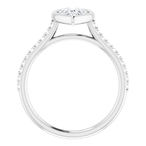 10K Rose Gold Customizable Bezel-set Pear Cut Style with Ultra-thin Pavé-Accented Band