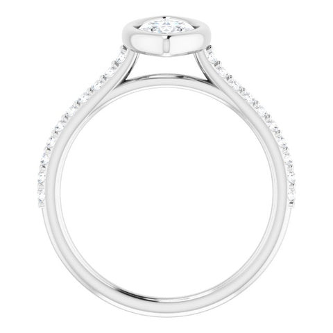 10K Rose Gold Customizable Bezel-set Marquise Cut Style with Ultra-thin Pavé-Accented Band