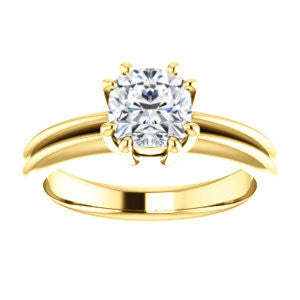 Cubic Zirconia Engagement Ring- The Reese (Customizable Cushion Cut Solitaire with Grooved Band)