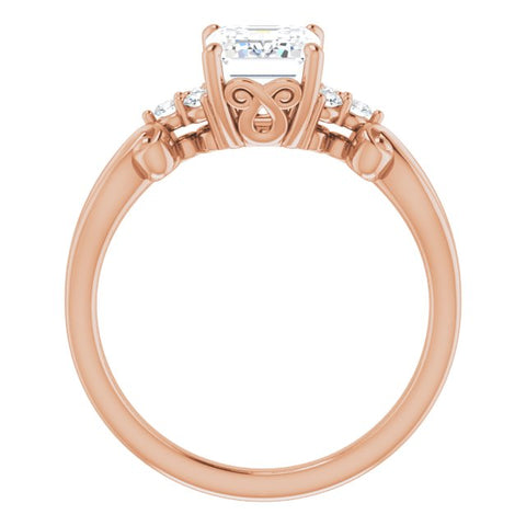 10K Rose Gold Customizable 7-stone Emerald/Radiant Cut Design with Tri-Cluster Accents and Teardrop Fleur-de-lis Motif