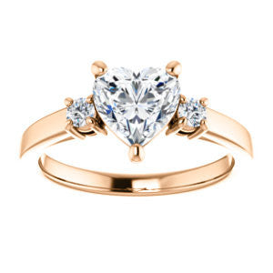 Cubic Zirconia Engagement Ring- The Jacqueline (Customizable Heart Cut 3-stone with Thin Band and Dual Round Prong Accents)