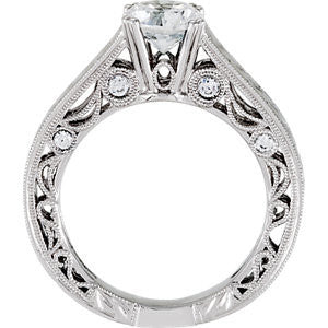 Cubic Zirconia Engagement Ring- The ________ Naming Rights 69-804 (1.20 Carat Asscher or Round Cut Vintage with Hand-Engraving)