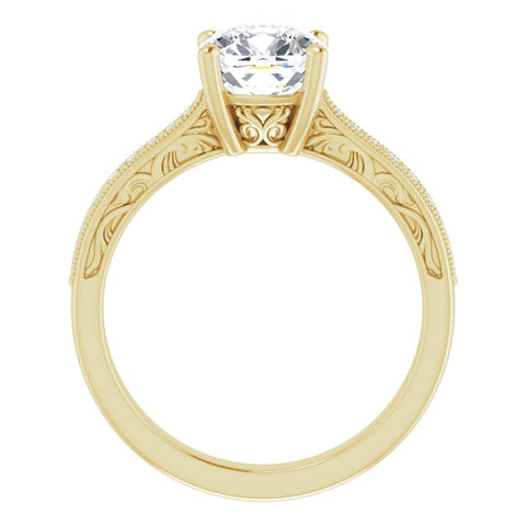 10K Rose Gold Customizable Cushion Cut Design with Round Band Accents and Three-sided Filigree Engraving