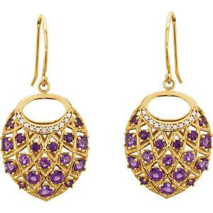 Cubic Zirconia Earrings- 1.44 Carat, 58-stone Filigreed Nest-Design Dangle Drop Earring Set