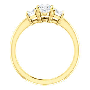 Cubic Zirconia Engagement Ring- The Andrea (Customizable Oval Cut 3-stone with Dual Emerald Cut Accents)