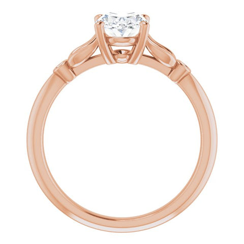 10K Rose Gold Customizable 3-stone Oval Cut Design with Thin Band and Twin Round Bezel Side Stones