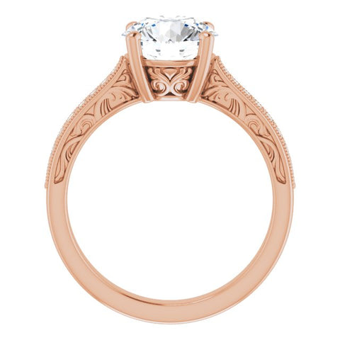 18K Rose Gold Customizable Round Cut Design with Round Band Accents and Three-sided Filigree Engraving