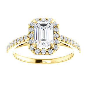 Cubic Zirconia Engagement Ring- The Sunshine (Customizable Radiant Cut Halo Design with Vintage Cathedral Trellis and Thin Pavé Band)