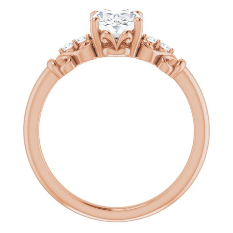 10K Rose Gold Customizable Vintage 5-stone Design with Oval Cut Center and Artistic Band Décor