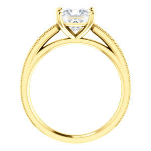 Cubic Zirconia Engagement Ring- The Brooklynn (Customizable Princess Cut with Cathedral Setting and Milgrained Pavé Band)