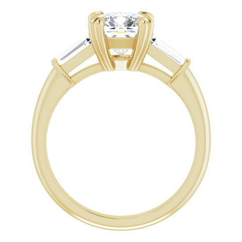 10K Rose Gold Customizable 3-stone Cushion Cut Design with Tapered Baguettes
