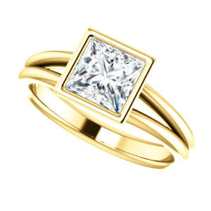 Cubic Zirconia Engagement Ring- The Shae (Customizable Princess Cut Split-Band Solitaire)