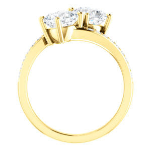 Cubic Zirconia Engagement Ring- The Phoebe (Customizable Enhanced 2-stone Double Cushion Cut Design With Round Pavé Band)