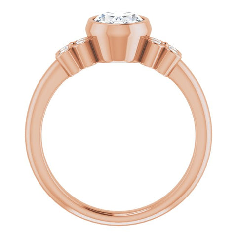 10K Rose Gold Customizable 9-stone Bezel-set Oval Cut Design with Quad Round Bezel Side Stones Each Side