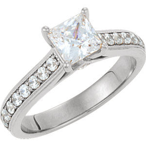 Cubic Zirconia Engagement Ring- The Merci (Princess Cut Style with Round Band Accents & Kite-set Square Bezel Peekaboos)