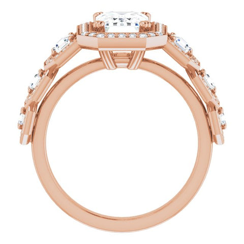 10K Rose Gold Customizable Cathedral-Halo Emerald/Radiant Cut Design with Six Halo-surrounded Asscher Cut Accents and Ultra-wide Band