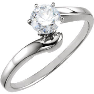 Cubic Zirconia Engagement Ring- The Julie (Customizable Modern Style Solitaire with Bypass Band)