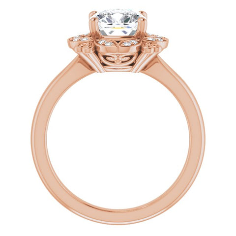 10K Rose Gold Customizable Cushion Cut Design with Floral Segmented Halo & Sculptural Basket