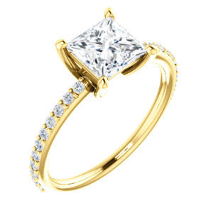 Cubic Zirconia Engagement Ring- The Blaire (Customizable Princess Cut with Petite Pavé Band)