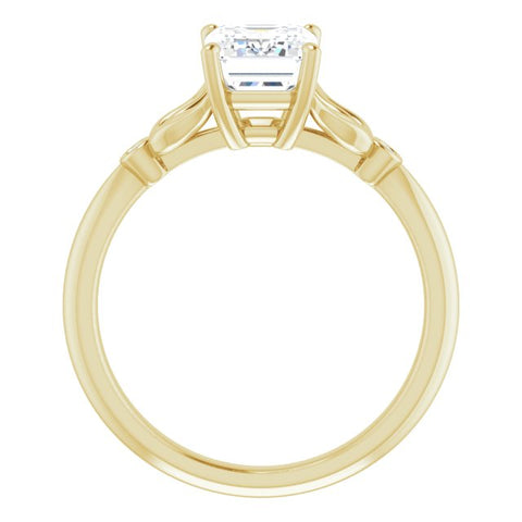 10K Rose Gold Customizable 3-stone Emerald/Radiant Cut Design with Thin Band and Twin Round Bezel Side Stones