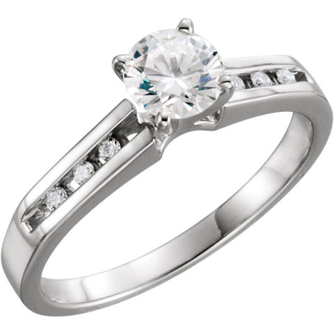 Cubic Zirconia Engagement Ring- The Tiffani (Customizable 7-stone Cathedral Setting with Channel Accents)