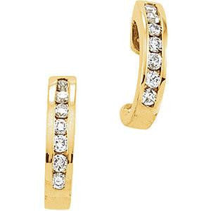 Cubic Zirconia Earrings- Channel Set J-Hoop