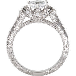 Cubic Zirconia Engagement Ring- The ________ Naming Rights 69-821 (1.18 TCW Oval Vintage Hand-Engraved)