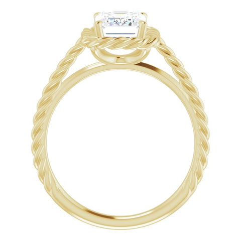 10K Rose Gold Customizable Cathedral-set Emerald/Radiant Cut Solitaire with Thin Rope-Twist Band