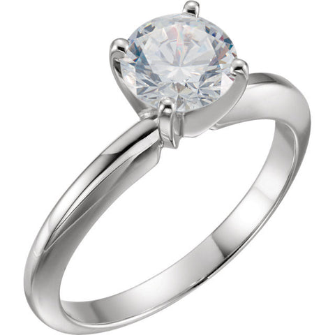 Cubic Zirconia Engagement Ring- The Anita (4-prong Round Cut Solitaire with Heavy Band)
